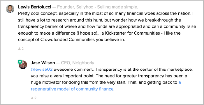 product hunt comments about neighborly